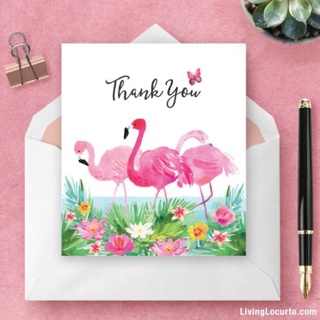 Flamingo Thank You Card Exclusive Free Gift Baby Shower Thank You Gifts Thank You Gifts Teacher Appreciation Gifts