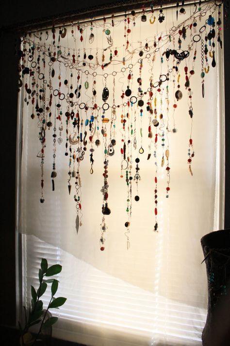 Gypsy Window Veil Diamond Eye Beaded Boho curtain w/Ethnic India Glass, Tribal metal beads, Rare Copper Upcycle Scarf Suncatcher