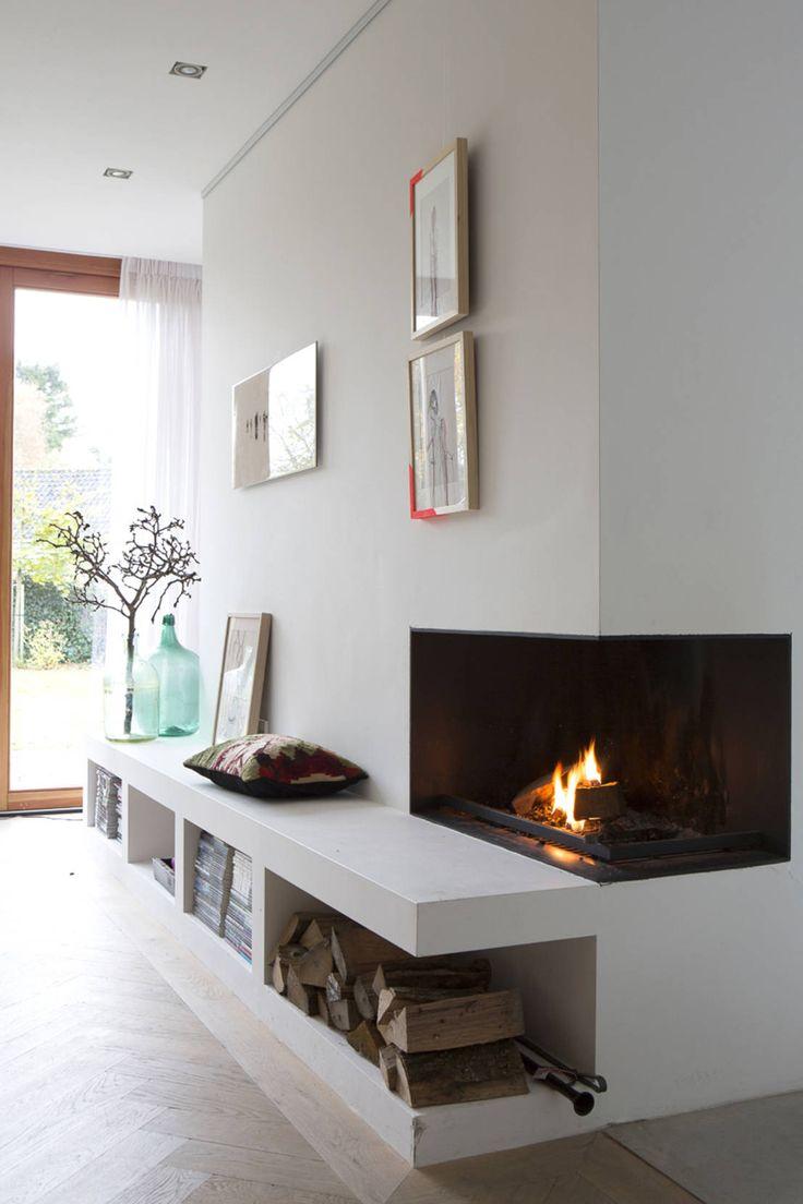 openhaard : Moderne woonkamers van Boks architectuur