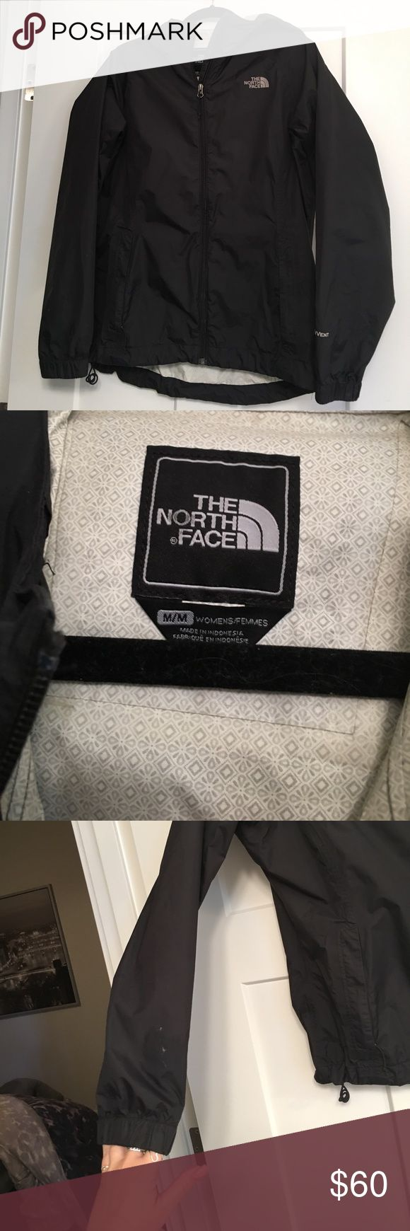 northface black rain jacket black north face rain jacket. size medium, good condition, stain on right sleeve ( see picture). North Face Jackets & Coats