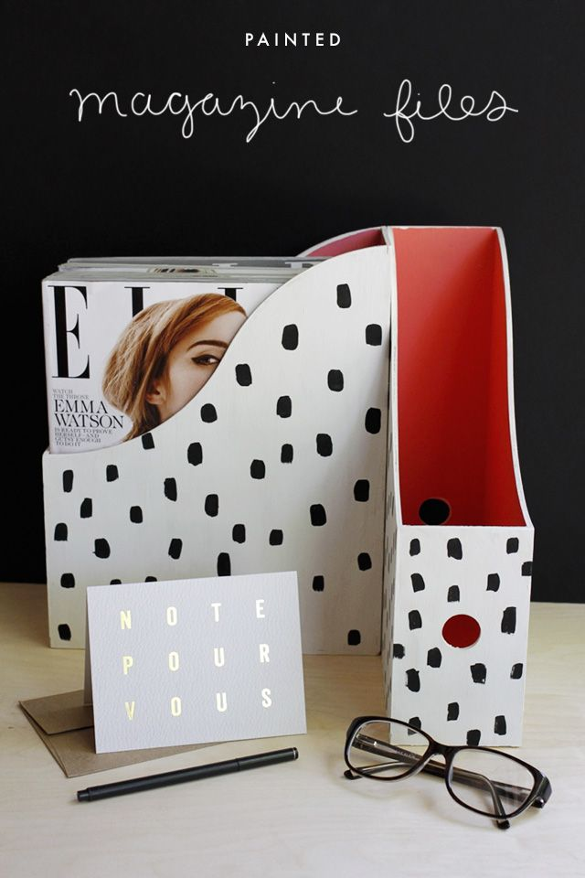 As someone who has difficulty making color choices, I really love being able to buy plain but customizable things. Ikea has these great magazine files made of untreated wood and they're only $10 fo...