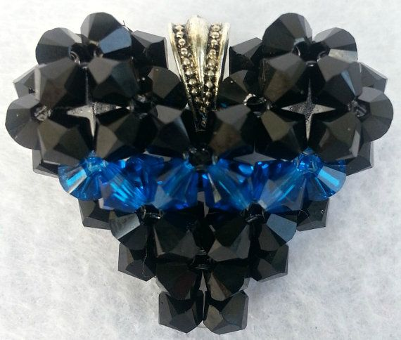 Awareness Jewelry Thin Blue Line Fallen by CrystalHeartFactory, $20.00