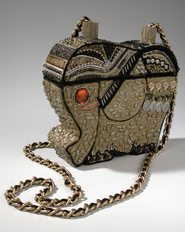 Vintage Mary Frances Beaded Paper Mache Elephant Box Handbag Purse Rare Maryfrances Shoulderbag
