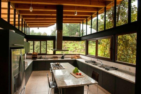 Küche Kochinsel große Fenster Einbau Geräte