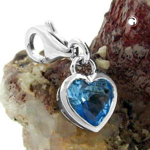 Berlock hjärta blå zirconia Äkta Silver