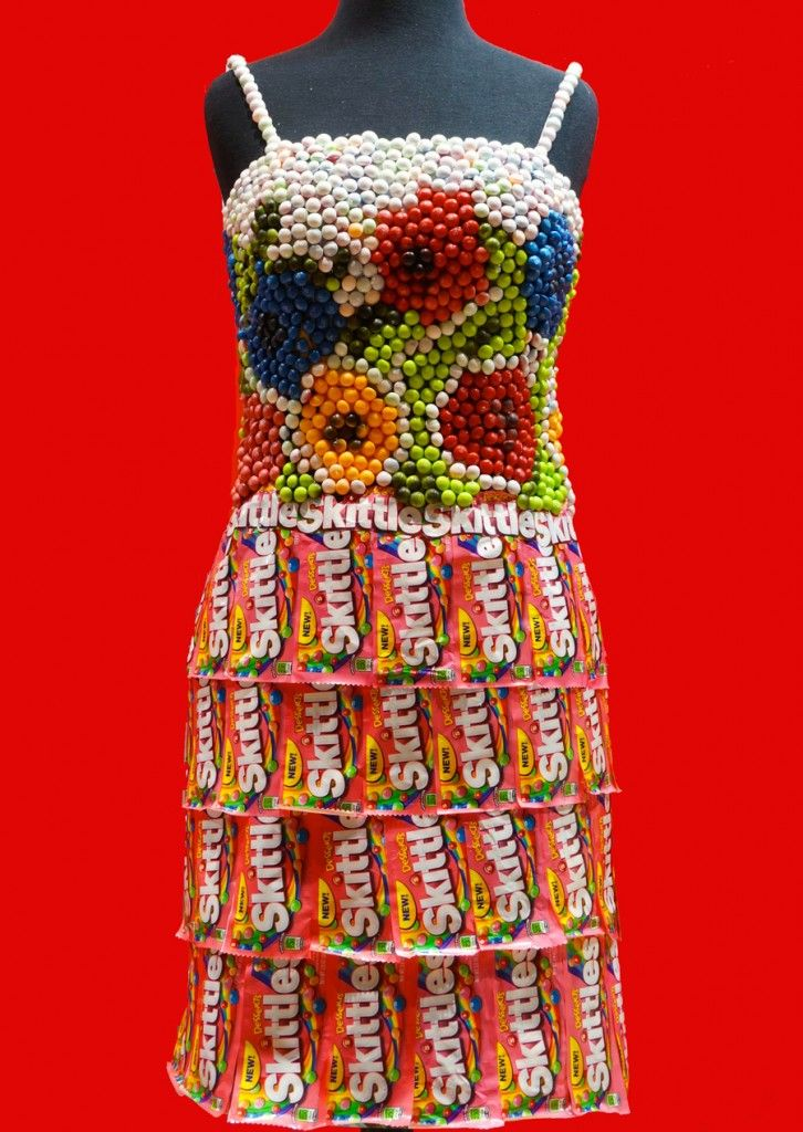 Skittles Candy Wrapper Dress made by Candyality for the Sweets and Snacks Expo in Chicago | Sweeterville.com