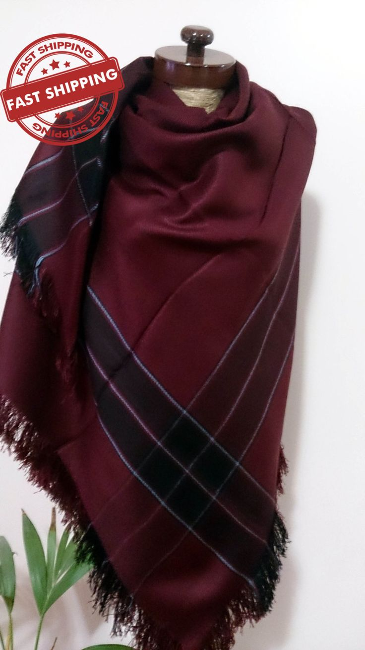 Burgundy blanket scarf, mothers day gift, Thank you gift, burgundy shawl, wedding shawl, blanket scarf plaid