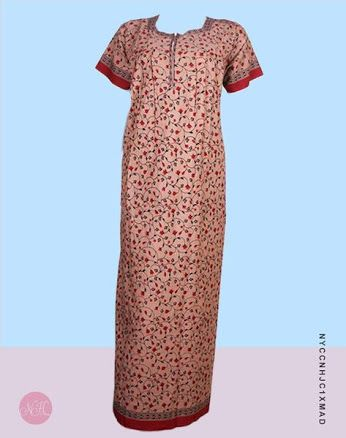 Cotton Nightgowns - Peach Cotton Maxi #nightdress #nightwear #nighty #nighties #nightsuit #sleepwear Exclusive collection of Designer Women Nightwear, Cotton Nighties, Long Night Dresses, Nightgowns, Ladies Night Suits, Nighty for Girls, Sleepwear in different designs & colors.