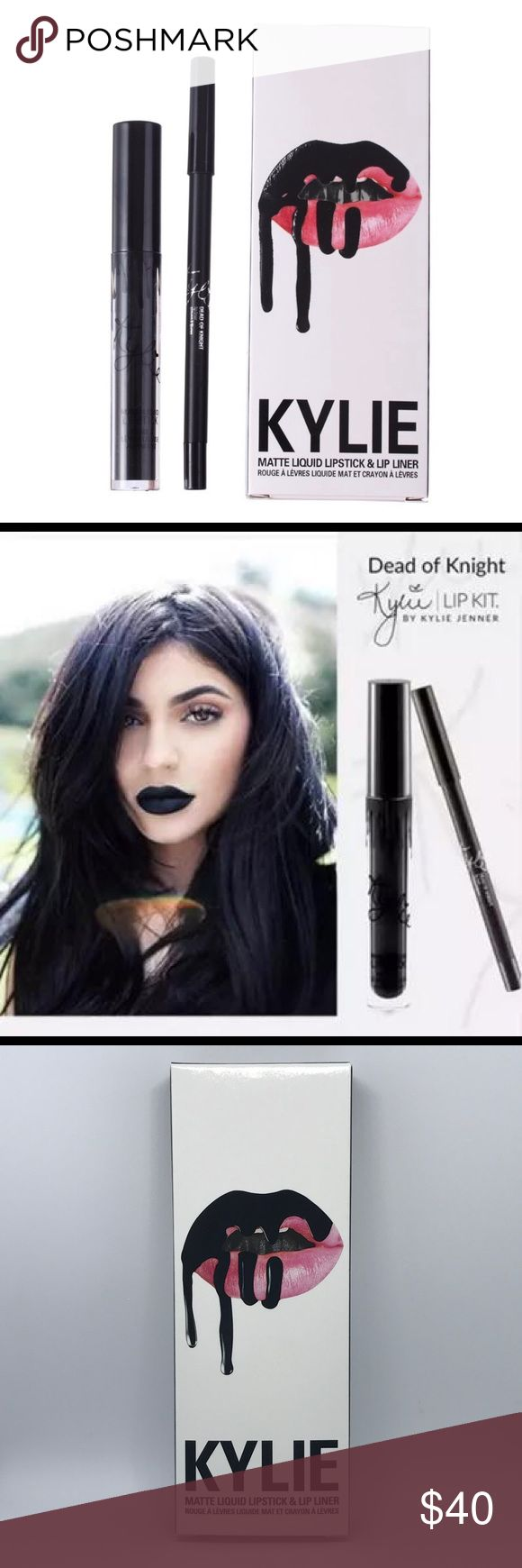 Matte Lip Kit | Dark Of Knight Brand new! Authentic!  Dark Of Knight is an intense black.  The #KylieCosmetics Lip Kit is your secret weapon to create the perfect 'Kylie Lip.' Each Lip Kit comes with a Matte Liquid Lipstick and matching Lip Liner.  Matte Liquid Lipstick The Matte Liquid Lipstick has high intensity pigment for an instant bold matte lip. The extremely long wearing lipstick contains moisturizing ingredients for a comfortable, emollient and silky feel that does not dry out your…