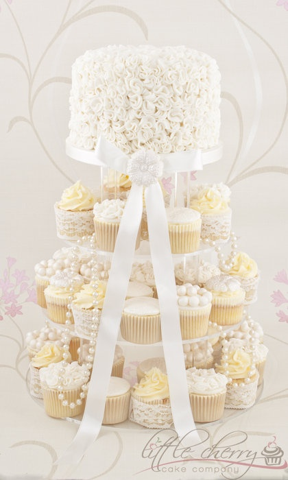 Vintage Ivory, Lace and Pearls Cupcake Tower