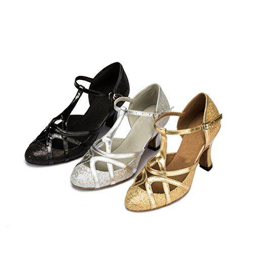 Minitoo Women's Chunky Low Heel Gold Glitter Salsa Tango Ballroom ...