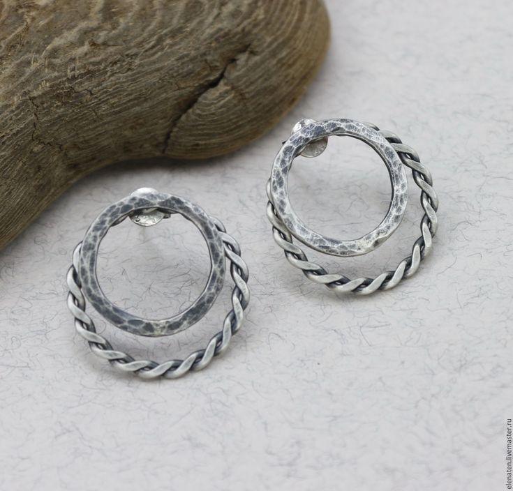 """Купить Двойные серьги гвоздики """"Vivien"""" двойные серьги трансформеры серебро - серебряный, серебро, серебряные"""