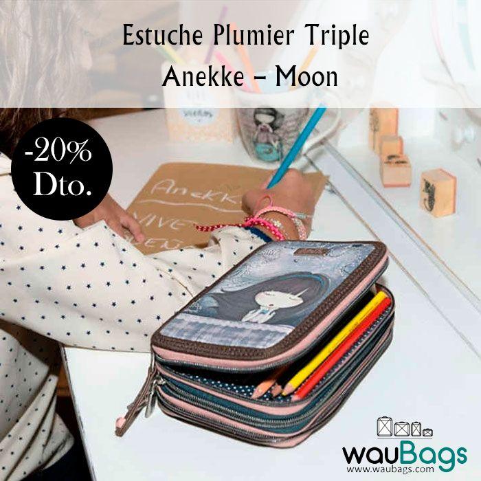 """Consigue el Estuche Plumier Triple Anekke """"Moon"""", con 3 compartimentos principales con cierre de cremallera, ahora por tan solo 18,32€!!  @waubags.com #anekke #plumier #estuche #escolar #papeleria #oferta #cole #descuento #waubags"""