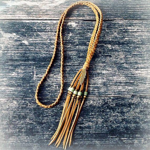 Feather Necklace Boho Jewelry Leather Tassel Necklace door xxxAZUxxx