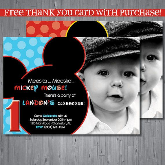 Mickey mouse Birthday Invitation, first birthday invitation, clubhouse birthday, party invitation printable, FREE thank you card, INSPIRED