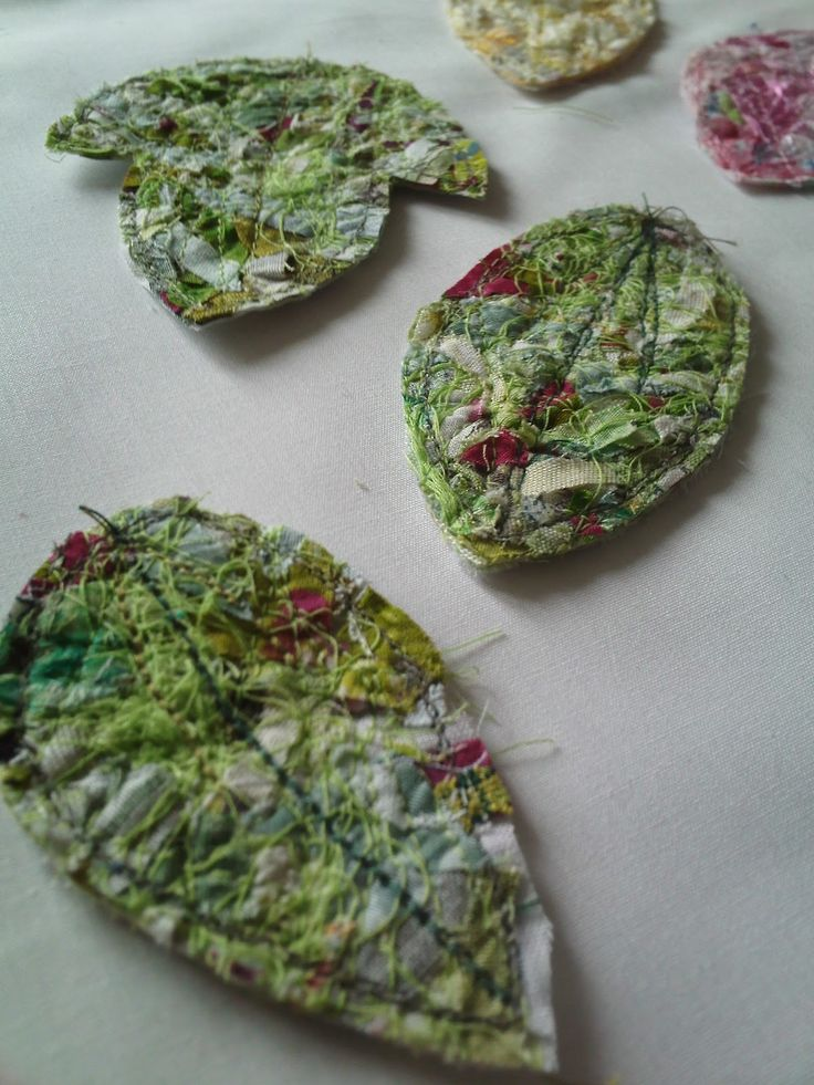 How To Make Fabric Shapes From Scraps - using water - soluble fabric and scraps of fabric, yarn and ribbon.