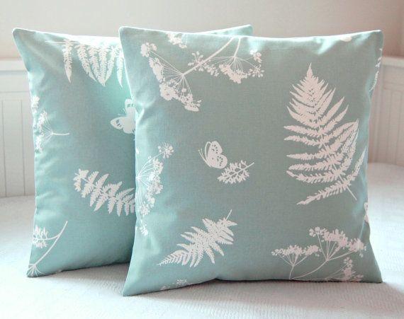 16 inch duck egg blue white cushion cover ferns by LittleJoobieBoo, £14.00