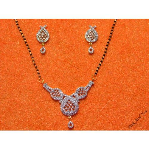 Beautiful and good looking American Diamond Mangal Sutra with Earrings.