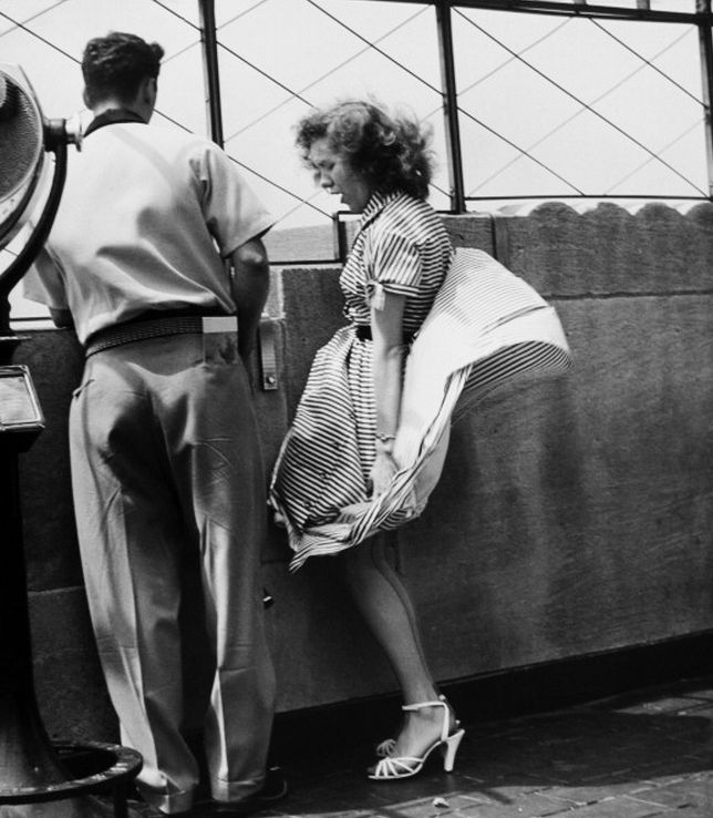Empire State Building observation deck, NYC, 1940's # ...