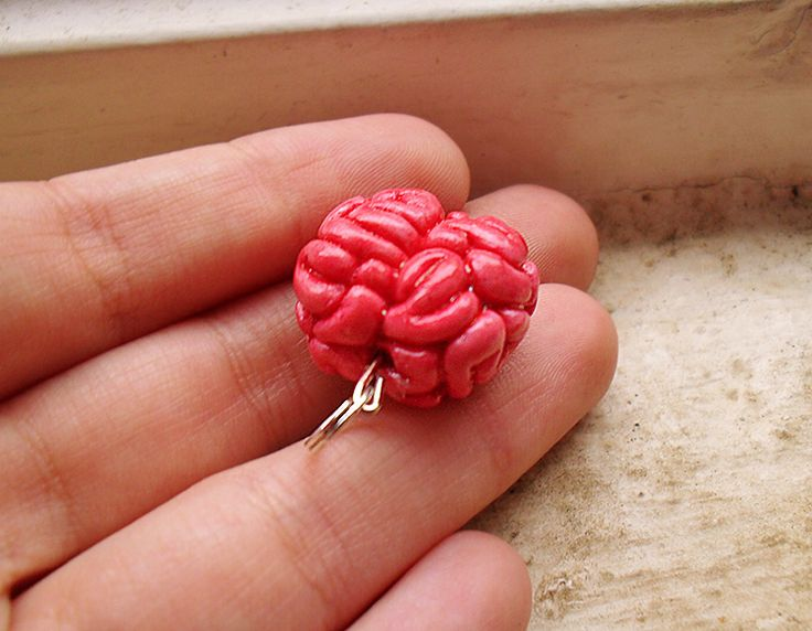 Braaains! Zombies come one and all. 1:12 scale polymer clay brain charm. Handmade and painted by me at The Fairy Factoree