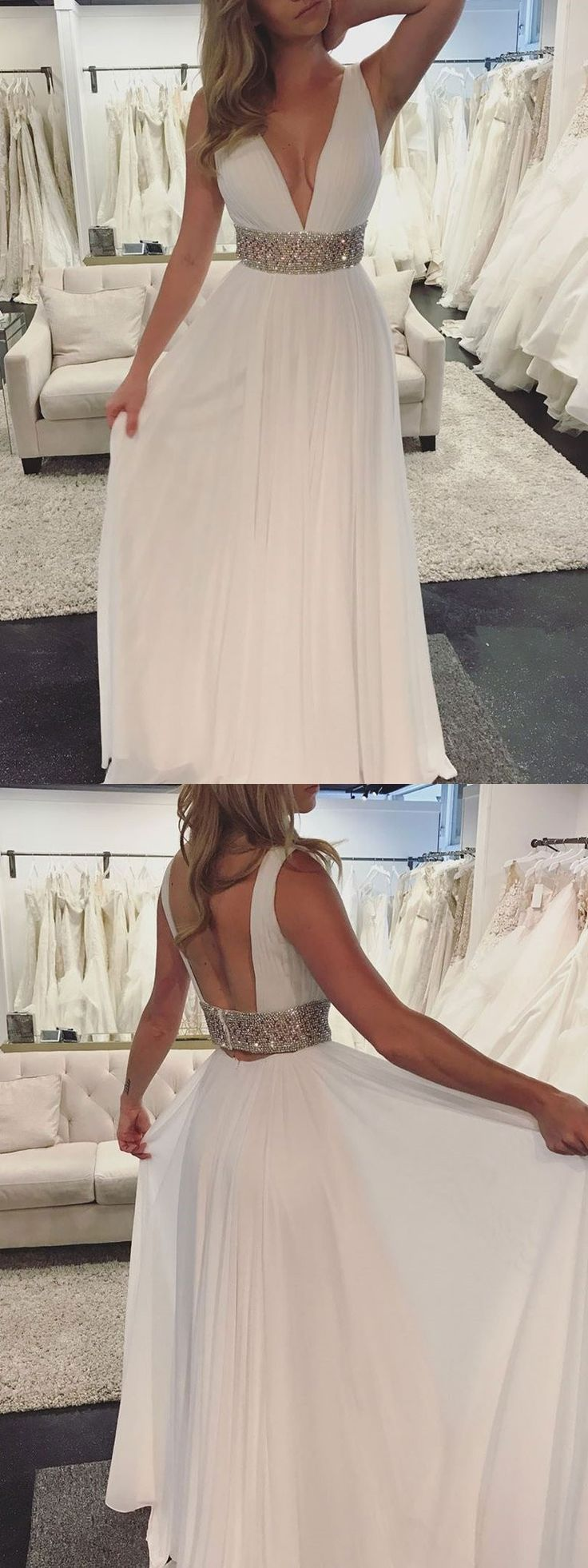 2018 white long prom dress, deep v neck long prom dress, long prom dress with sequins belt, elegant v neck white long wedding dress