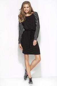 Dresowa sukienka z rękawem w paski dostępna w sklepie internetowym GrandeSaldi.