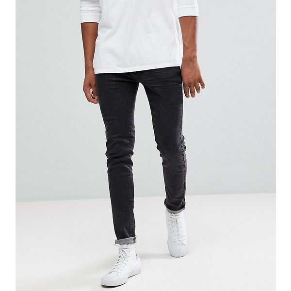 Bellfield TALL Skinny Jeans In Washed Black ($56) ❤ liked on Polyvore featuring men's fashion, men's clothing, men's jeans, black, tall mens jeans, mens skinny jeans, mens flap pocket jeans, mens super skinny jeans and mens skinny fit jeans