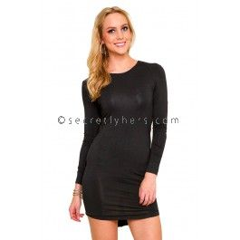 RUNAWAY THE LABEL On Point Long Sleeve Little Black Dress