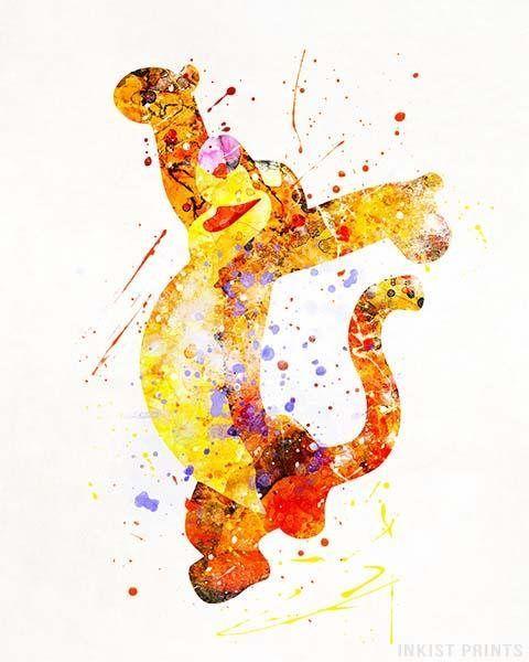 Tigger Print Pooh Watercolor Art Tigger Poster Tigger