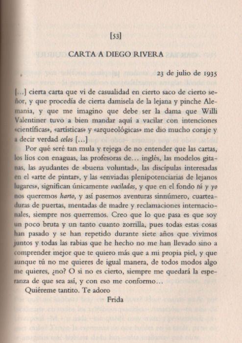 Carta de Frida Kahlo a Diego Rivera. De esos amores que no existen ya.