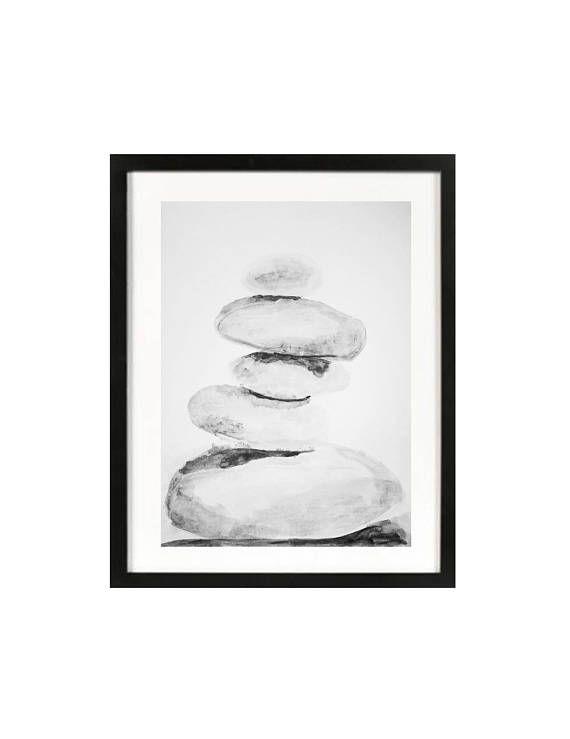 Zen Pebbles Watercolour Painting Beach Rocks Art Balancing Rocks