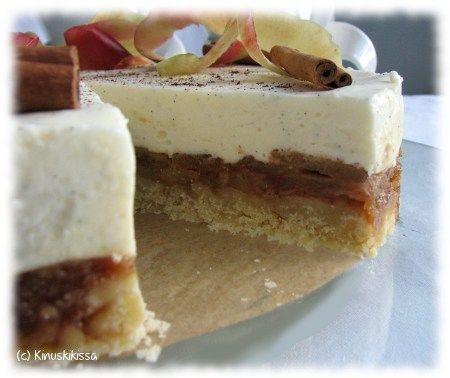 Kinuskikissan omena-vaniljaviettelys (toisaalta vinkkinä korvata pohja: 180 g Digestive-keksejä ja 75 g voita tai margariinia)