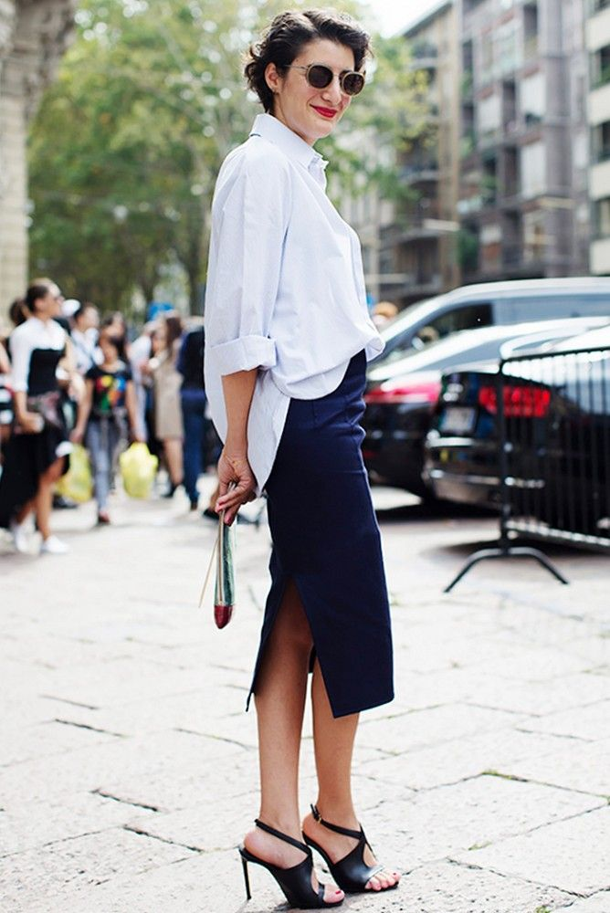 Classic button-down and pencil skirt combo played up by a half tuck. // #StreetStyle