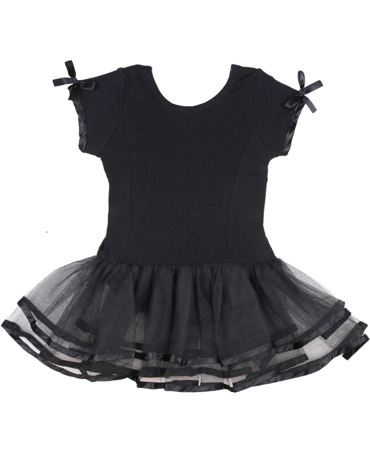 RuffleButts.com - Short Sleeve Black Tutu Leotard