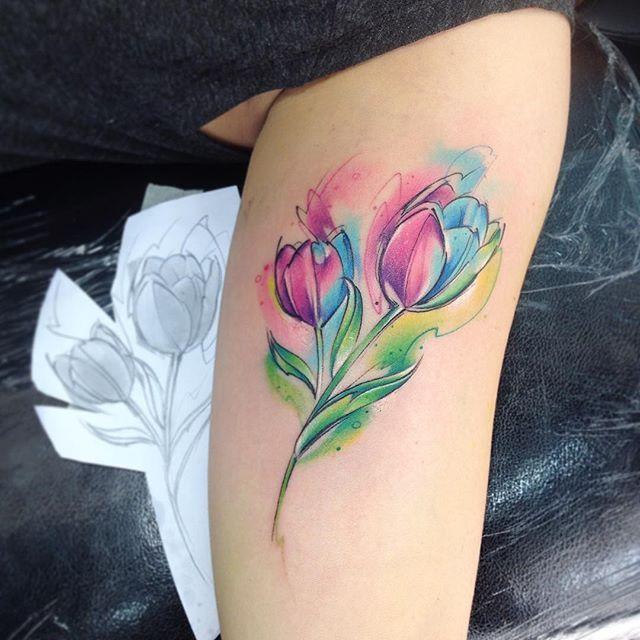 Tulipán AB #tattoo #aquarelle #tulip #tulipan #ab #adrianbascur #flor #flowers #natural #colors #aquarelle #aquarela