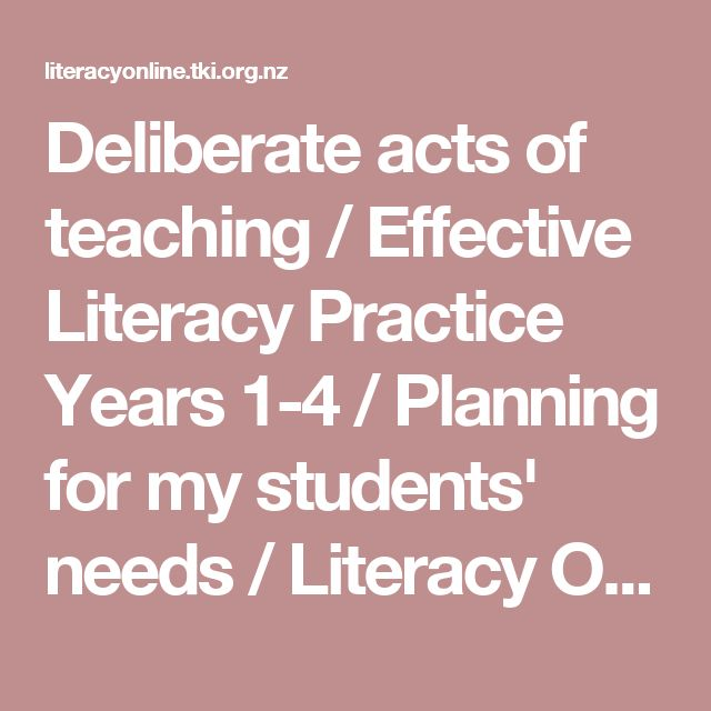 Deliberate acts of teaching / Effective Literacy Practice Years 1-4 / Planning for my students' needs / Literacy Online / English - ESOL - Literacy Online website - English - ESOL - Literacy Online