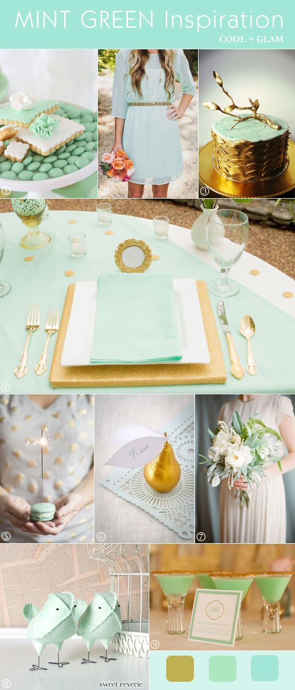 Mint green and gold wedding decorations, bouquet, cake