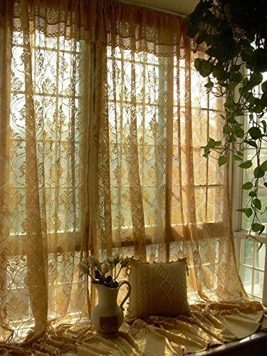 Bingirl 1 PC Elegant French Jacquard Crochet Lace Curtain Panel Drape 157u2033  X 100u2033
