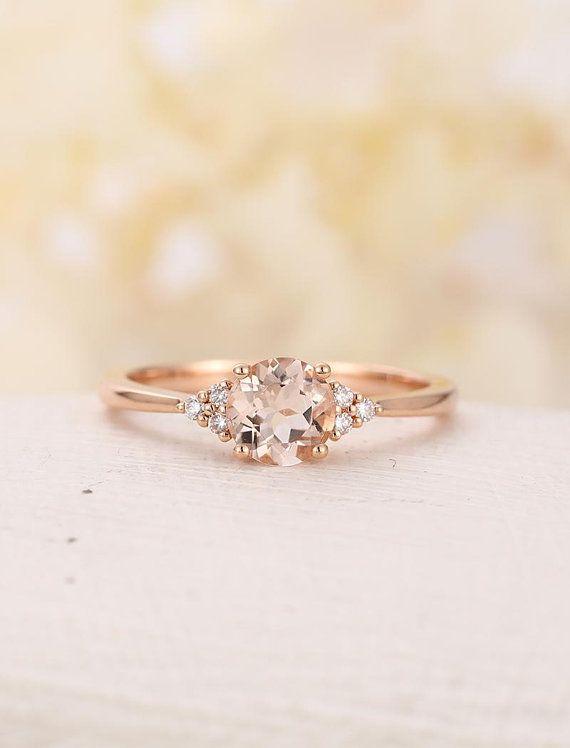 Morganite engagement ring solitaire ring 14k Rose gold Round Brilliant Cut cluster diamond wedding antique Unique Promise rings for Women