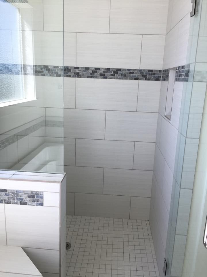 Large Profile Tile With A Nice Accent Band Really Adds Character To A Shower Linen White 12x24