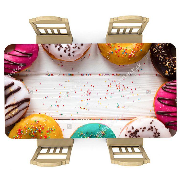 Tafelsticker Donuts | Maak je tafel persoonlijk met een fraaie sticker. De stickers zijn zowel mat als glanzend verkrijgbaar. Geschikt voor binnen EN buiten! #tafel #sticker #tafelsticker #uniek #persoonlijk #interieur #huisdecoratie #diy #persoonlijk #donuts #feest #keuken #kinderkamer #feestje #lekker #voedsel #eten #hout #wit