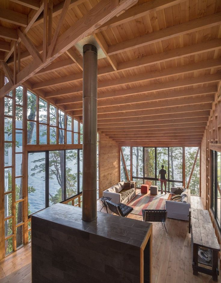 The main objectives of 2Y House are two. Firstly; that it integrates the forest in the daily experience of the user and Secondly; that it receives as much light and sun as possible during the entire day. Project by Sebastian Irarrazaval Architects #wood #livingroom