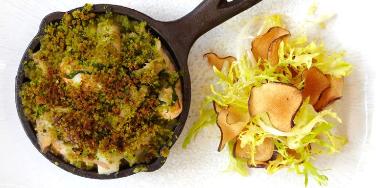 A creamy rabbit and langoustine filling is topped by a wild garlic and Parmesan crumble in this fabulous rabbit recipe from James Mackenzie.