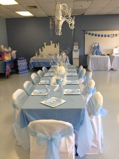 Cinderella Party- love the idea of draping dining room chairs and tying bows.  Use EfavorMart to get chair covers for about $2.00 and chair ties for under  a buck!
