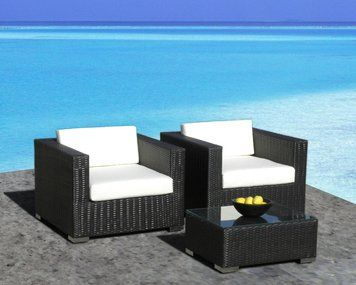 Lovely Outdoor Patio Furniture All Weather Wicker 3 Pc Arm Chair Set