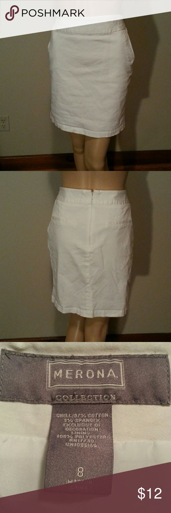 White Merona Skirt White skirt . Stretchy material . Front pockets . Zip up in the back . Size 8 . Merona Skirts Pencil