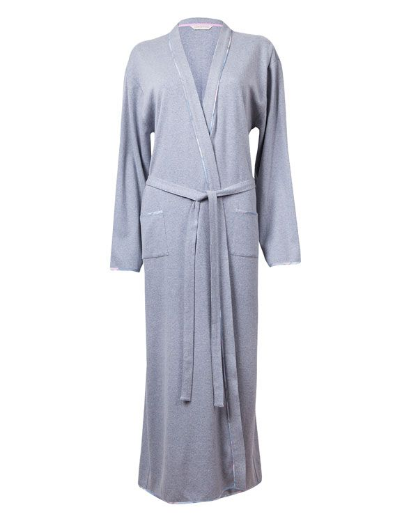 Eva Long Sleeve Cotton Knitted Robe  100% Cotton Knitted Robe with check piping at stole, pockets with check binding on the bias, long sleeve with check binding on the sleeve hem , pink modal trim used as back neck tape and a self fabric tie from the Eva Range  100% Cotton