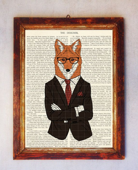 Fox Art Print Fox with Glasses Print Fox Wall Art Book Art