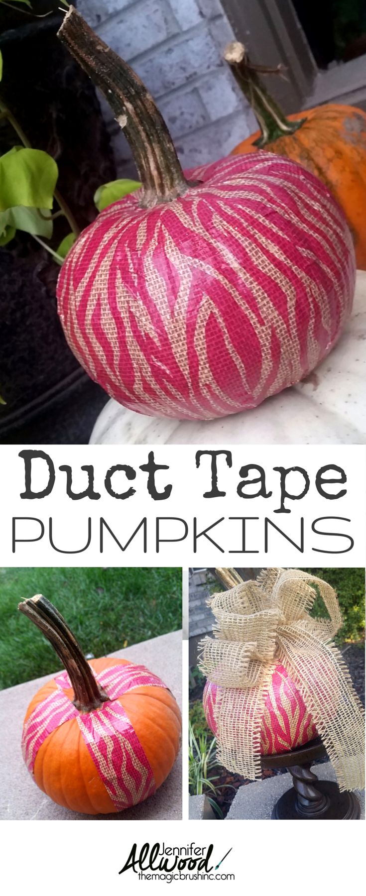 Duct Tape a pumpkin for a fun fall & Halloween decoration! more DIY projects at theMagicBrushinc.com