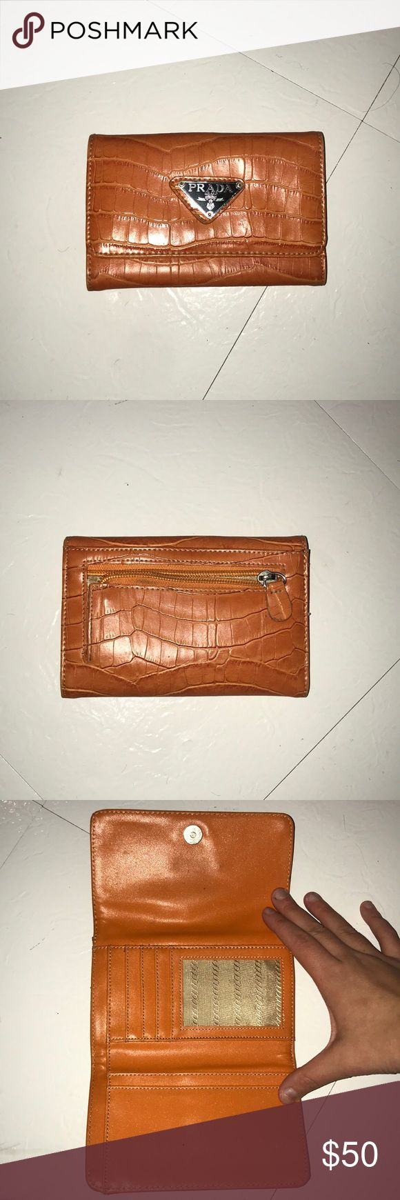 Orange Prada wallet There are a lot of compartments to store, gift cards, credit cards, ID, Coins, and cash Prada Bags Wallets